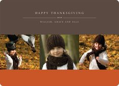 3 Photo Thanksgiving Photo Cards