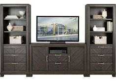 picture of Lewiston Espresso 3 Pc Wall Unit with 60 in. Console from Wall Units Furniture
