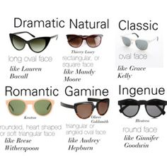 Dramatic, Natural, Classic, Romantic, Gamine, Ingenue sunglasses