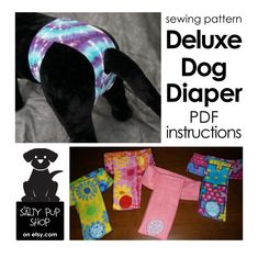 This listing is for a digital download of instructions to make fleece dog diapers with step by step instructions and illustrations. This pattern is for personal, non-commercial use or gifts. Do you have an intact female dog? Ever wish you had a more comfortable way to keep things