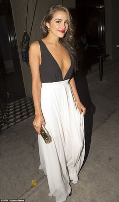 Glamorous: Nick Jonas's beauty queen girlfriend Olivia Culpo also turned heads at the afte...