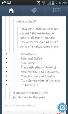 Shakespearean Milkshakes - why isn't this a thing?
