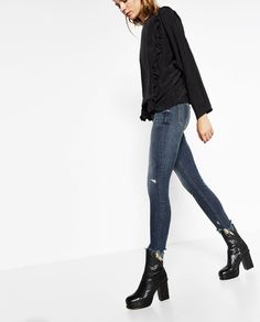 Image 3 of MID-RISE FRAYED JEANS from Zara