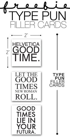 Free Type Pun Filler Cards | The Paper Curator