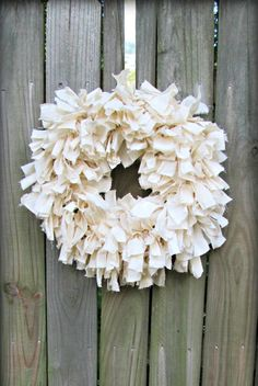 Rustic Off White Rag Wreath Fabric Wreath Simple Shabby Chic Cottage Woodland Rustic Wreath Decor by BrambleBugGifts