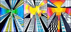 buildings in one point perspective by deann