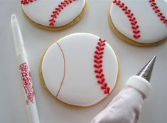 Football and Baseball Valentine Cookies Fancy Cookies, Valentine Cookies, Iced Cookies, Cut Out Cookies, Cute Cookies, Royal Icing Cookies, Holiday Cookies, Cupcake Cookies, Valentines
