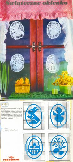 "filet crochet ""sun catchers"" - pattern, I'd pick different pictures but this is a neat idea ~! Filet Crochet, Crochet Car, Crochet Gifts, Crochet Motif, Crochet Doilies, Easter Crochet Patterns, Lace Patterns, Tricot D'art, Christmas Hearts"