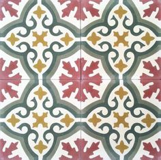 Floral Spanish design, ,Hydraulic Authentic Andalusian Tiles for both the floor and wall. Kitchen Wall Colors, Kitchen Tiles, Kitchen Flooring, Kitchen Design, Floor Patterns, Tile Patterns, Textures Patterns, Spanish Design, Spanish Tile