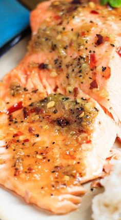 Quick and easy spicy chili garlic grilled trout - dinner is on the table in under 30 minutes! Salmon Dishes, Fish Dishes, Seafood Dishes, Fish And Seafood, Seafood Recipes, Cooking Recipes, Healthy Recipes, Seafood Buffet, Baked Trout
