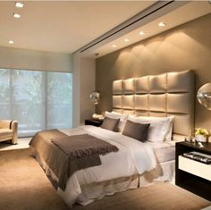 Idea for master bedroom - not exact headboard, lighter colors and different night stand.