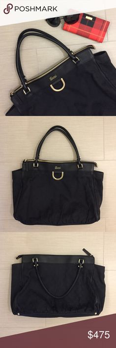 """Gucci shoulder bag Authentic, Great for work, traveling, or date night. Good used condition with tiny rips at the bottom as shown in the last pic. This bag is 18""""x10""""x4"""". Gucci Bags"""
