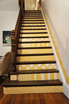 painted stairs - Kate Lewis house tour via Apartment Therapy Stair Steps, Stair Risers, Basement Steps, Painted Stairs, Painted Staircases, House Stairs, Attic Stairs, Step By Step Painting, Stairway To Heaven