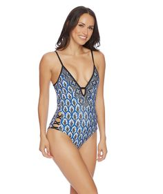4eec67ae55f The Ella Moss Renaissance Medallion Removable Soft Cup One Piece features a  sexy boho chic look