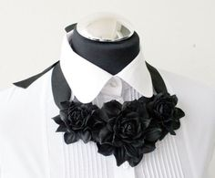 Black leather floral bib necklace  Made to Order