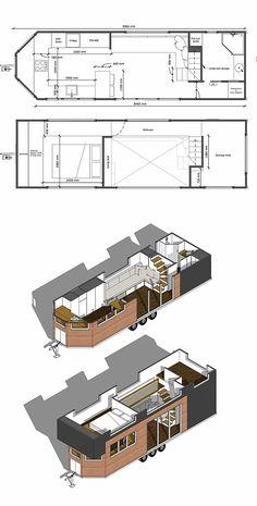 Best Tiny House, Tiny House Plans, Tiny House On Wheels, House Floor Plans, Tiny House Layout, Tiny House Design, House Layouts, Tyni House, Tiny House Living