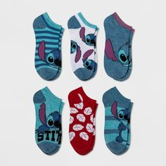 Women's Disney Lilo and Stitch 6pk No Show Casual Socks - Blue 9-11, Turquoise