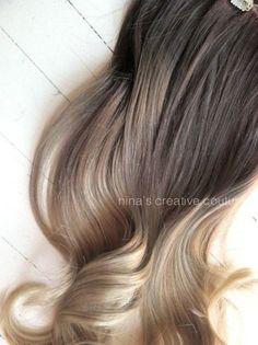 Ash Blonde Ombre Hair,  Ombre Clip In Hair Extensions, Dark Ash Blonde Hair, Light Ash Blonde Ombre, (7) Pieces, 22 via Etsy