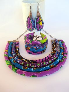 Bright purple necklace set  African Print Jewelry Cobalt by nad205
