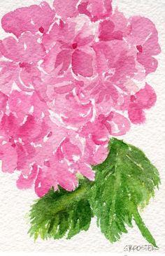 Pink Hydrangeas watercolor painting original 4 by SharonFosterArt, $18.00