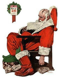 """Norman Rockwell Illustration of,"""" Santa Sleeping"""", Americana Vintage Print Wall Art Reproduction Perfect Wall Hanging Home, Gift for Family After Christmas, Christmas Art, Vintage Christmas, Xmas, Christmas Landscape, Christmas Calendar, Christmas Stuff, Christmas Humor, Advent Calendar"""