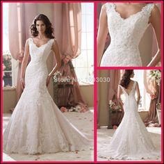 vestido de noiva sereia renda 2014 V-neck Appliques Backless Mermaid Wedding Dresses Lace Pink Bridal Gowns Dress Sexy MW045 € 188,74