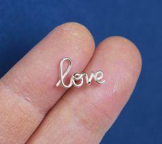 925 Sterling silver Love ear studsLargebridesmaid by artstudio88