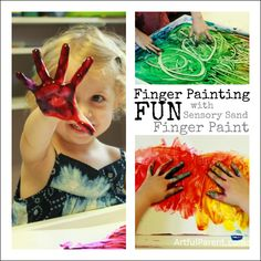 Any tips for keeping the mess contained when doing messy art projects? This is a post about finger painting with kids & a new kind of finger paint called Sensory Sand finger paint (+ a giveaway). We used a painting tray and kept a bowl of soapy water and a towel nearby for washing hands. Would love to hear your tips!