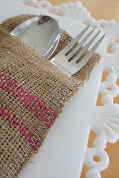 Burlap Utensil Holder: Place two pieces of burlap on top of each other.  Stitch up three sides with a zigzag stitch!  Embellish the burlap if you'd like!