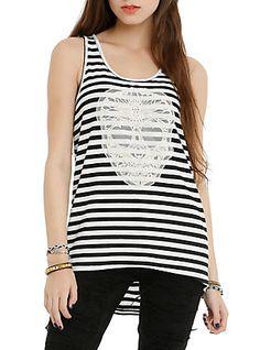 Black & White Stripe Crochet Skull Tunic Tank Top, BLACK