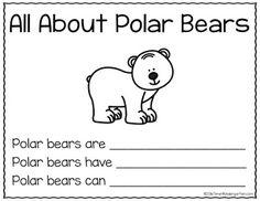 Time 4 Kindergarten: Freebie All About Polar Bears Writing Kindergarten Worksheets, In Kindergarten, Bears Preschool, Preschool Activities, Senses Activities, Winter Activities, Artic Animals, Wild Animals, Baby Animals