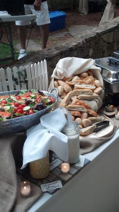 Wedding Buffet Dinner by the lake - rustic outdoor design