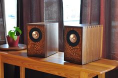 DIY full-range speaker made from walnut and with english elm front baffles.