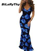 Summer Style Women's Spaghetti Strap V Neck Long Maxi Dress Digital Floral Printing Floor Length Bohemian Sexy Backless Dresses