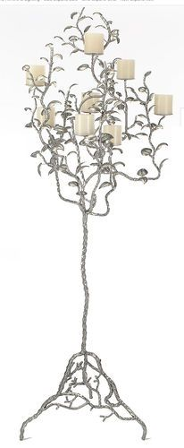 "Albero Floor Candelabra 75"" from  Z Gallerie Iron w/ Antiqued silver leaf Finish"