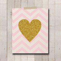 Pink Chevron Gold Glitter Heart 8x10 Print  by bowpeepcreations, $2.95 Decoration  art  print  printable  love  gold  glitter  pink  chevron  girl  baby  nursery  wall wedding