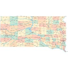 Scalable online South Dakota road map and regional printable road maps of South Dakota. Highway Map, State Map, South Dakota, Travel With Kids, Sd, Agates, Vacations, Maps, Bucket