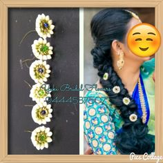 Thenkasi bride's reception hairstyle and small button fresh flowers done for her messy braid ! Messy Braids, South Indian Bride, Bridal Flowers, Fresh Flowers, Indian Fashion, Reception, Hairstyle, Drop Earrings, Button