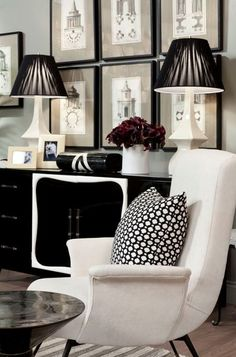 Celerie Kemble Black & White Snow | Showcase black and white lithographs, paintings, or photographs to drive this color palette home. #interiordesign
