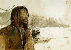 Andrew Wyeth Snowflakes watercolor 1966