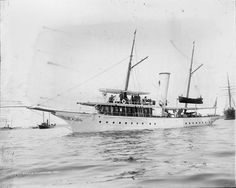 """The 143-ton steam yacht """"Dungeness"""" was built by Maryland Steel at Sparrows Point, MD. The original owner was listed as Mrs. L. C. Carnegie. It was delivered on June 12, 1894."""