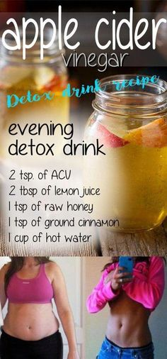 Apple Cider Vinegar for Weight Loss - 3 Detox Drink Recipes for Flat Belly:Lemon, Cinnamon, and Cayenne pepper. If you want to perform a body detoxification, lose some weight and fat, apple cider vinegar is the best thing you can use! Vinegar Detox Drink, Apple Cider Vinegar Detox, Apple Detox, Vinegar Diet, Detox Drinks, Healthy Drinks, Detox Juices, Healthy Smoothies, Healthy Recipes