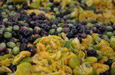 Olives with citrus fruit Citrus Oil, Olives, Sprouts, Beans, Fruit, Vegetables, Food, Beans Recipes, Veggie Food