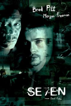 Directed by David Fincher. With Morgan Freeman, Brad Pitt, Kevin Spacey. Two detectives, a rookie and a veteran, hunt a serial killer who uses the seven deadly sins as his modus operandi. Se7en Movie, Se7en 1995, Movie Tv, David Fincher, Brad Pitt, Somerset, Freeman Morgan, Crime, 1995 Movies