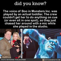 The voice of Boo in Monsters Inc. was played by an actual toddler. The crew couldn't get her to do anything on cue (or even sit in one spot), so theyjust chased her around with a mic while she played in the studio. Humour Disney, Disney Jokes, Funny Disney Memes, Stupid Funny Memes, Funny Relatable Memes, Disney Pixar, Disney And Dreamworks, Disney Magic, Disney Mems
