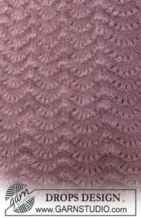 """Set comprises: Knitted DROPS hat and shawl with wavy pattern in """"Kid-Silk"""" and """"Alpaca"""". Baby Knitting Patterns, Knitting Stitches, Free Knitting, Drops Patterns, Lace Patterns, Stitch Patterns, Crochet Patterns, Magazine Drops, Pattern Library"""
