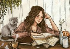 Drawing girl reading book ideas for 2019 Art And Illustration, Lovely Girl Names, Reading Art, Woman Reading, Reading Books, Girl Reading Book, Reading Lists, Cat Art, Art Girl