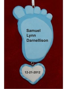 Funky Foot Blue Baby's First Ornament