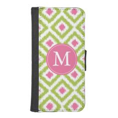 Monogrammed Green and Pink Diamonds Ikat Pattern Phone Wallet Cases
