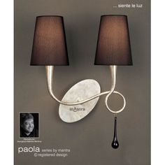 paola double wall light silver painted finish black fabric shades black glass droplet can be black fabric lighting